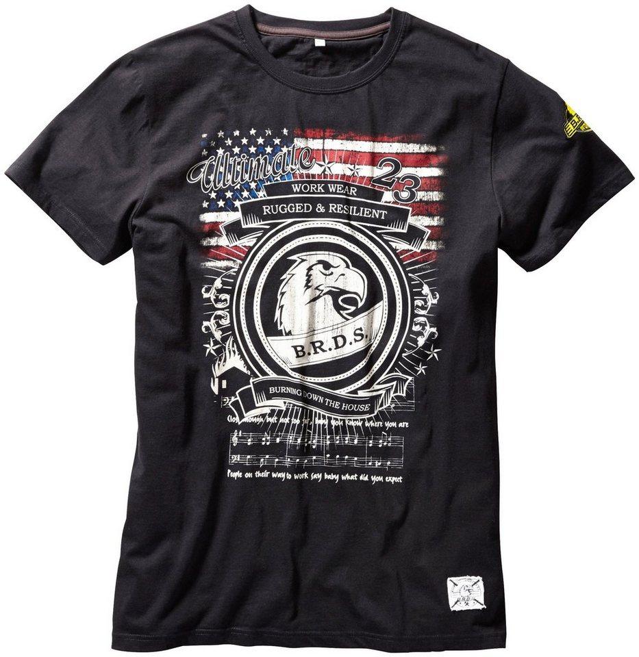 T-Shirt Workwear »USA« in grau