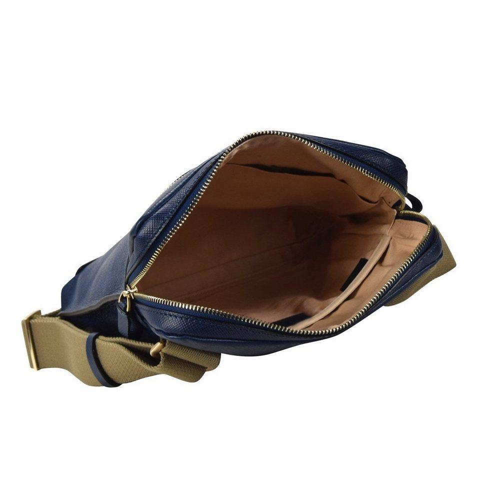 Piquadro Cartella Umhängetasche Leder 21 cm in blau