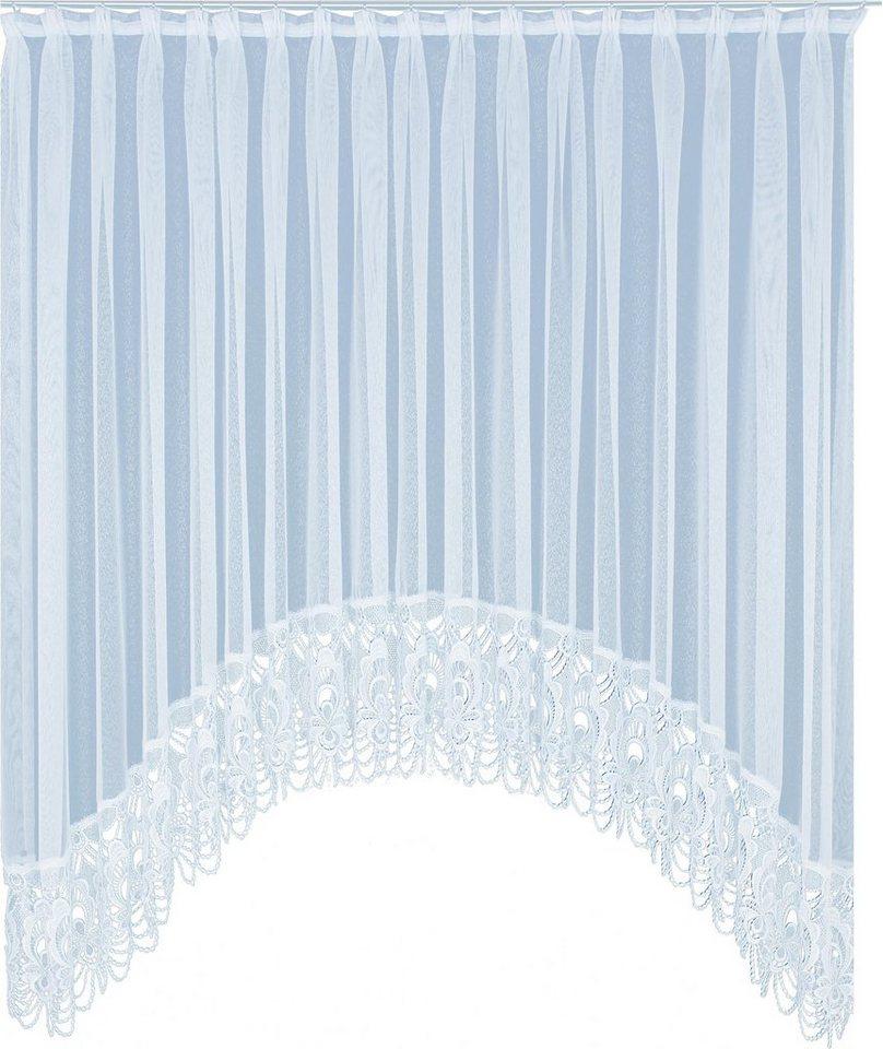 Gardine, Wirth, »Elena«, mit Faltenband, veredelt mit echter Plauener Spitze Stickerei (1 Stück) in weiß