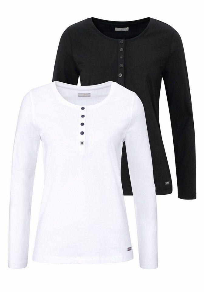 Cheer Langarmshirt mit langer Knopfleiste (Packung, 2 tlg., 2er-Pack) in schwarz+weiß