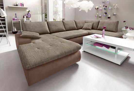 TRENDMANUFAKTUR Wohnlandschaft, wahlweise mit Bettfunktion, inklusive loser Rücken- und Zierkissen, frei im Raum stellbar