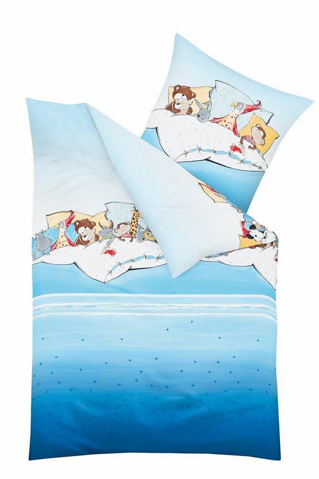 Kinderbettwäsche, Kaeppel, »Pyjamaparty«, mit Tier-Motiv in hellblau