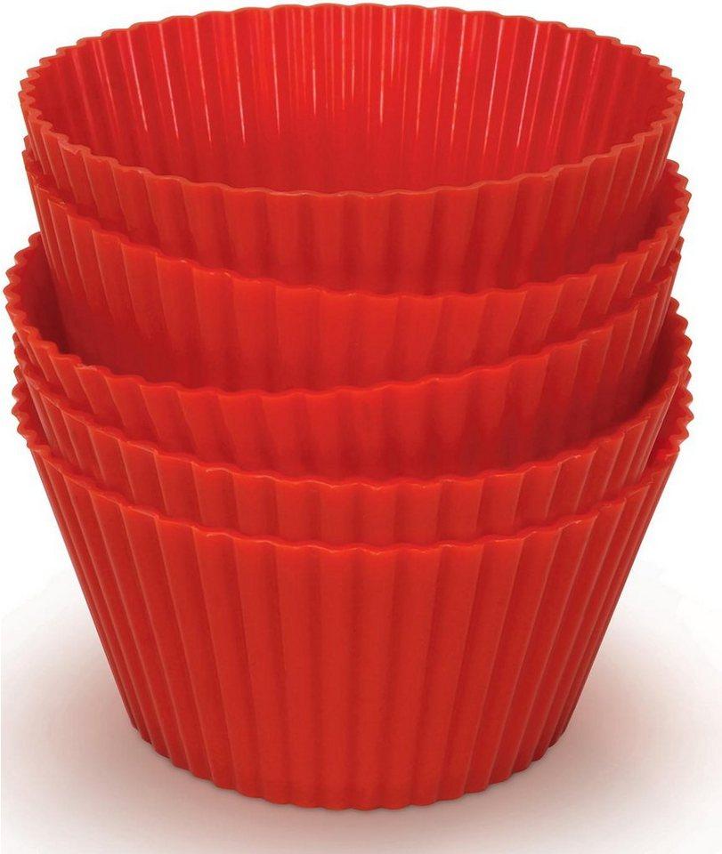 Philips Airfryer Zubehör Silikon Muffinförmchen HD9909/00, 5 Stück, rot in rot
