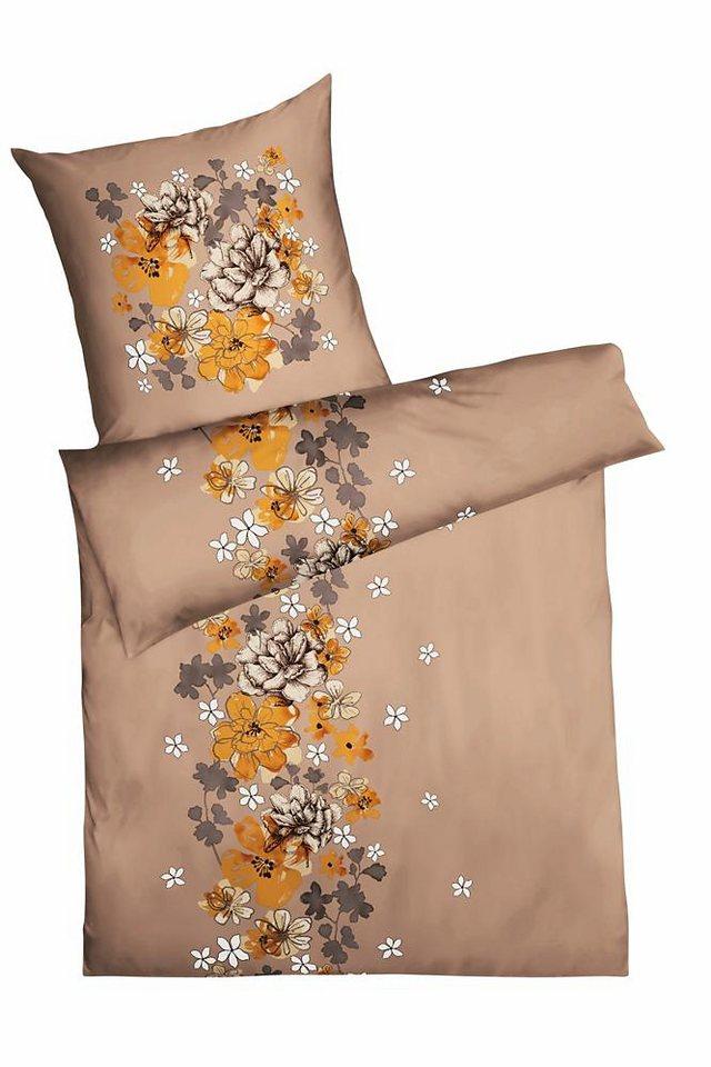 Bettwäsche, Kaeppel, »Aurora«, mit dekorativen Blüten in braun