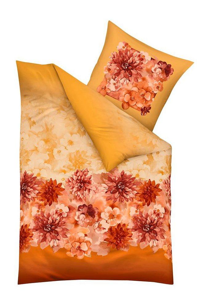 Bettwäsche, Kaeppel, »Delia«, im floral Muster in orange