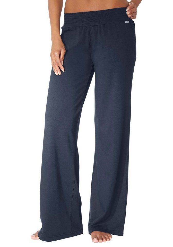 LASCANA Homewearhose mit weitem Bein in schwarz