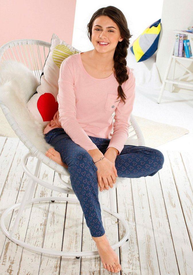 s.Oliver RED LABEL Bodywear Pyjamas in langer Form in rosa/blau