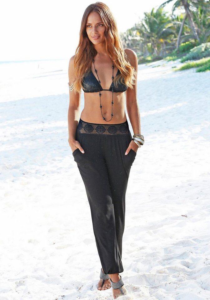 LASCANA Strandhose mit Häkelbund in schwarz