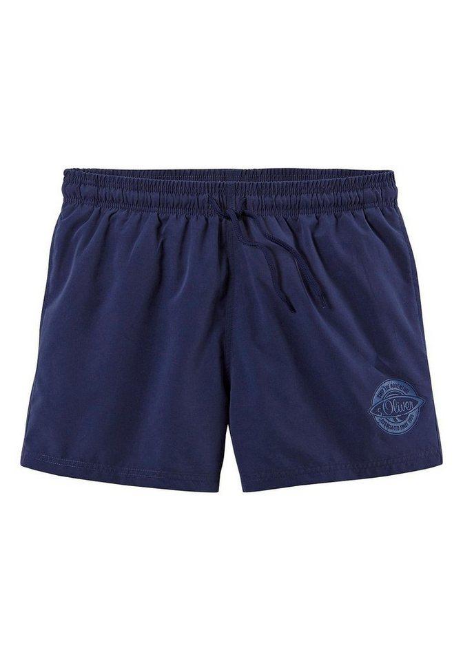 Herren s.Oliver RED LABEL Beachwear  Badeshorts mit kleinem Logo-Druck blau | 04897037876199