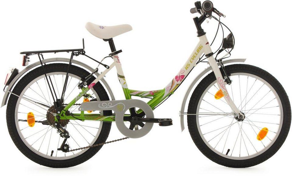 KS Cycling Jugendfahrrad, 20 Zoll, weiß-grün, 6 Gang-Kettenschaltung, »Papilio« in weiß-grün