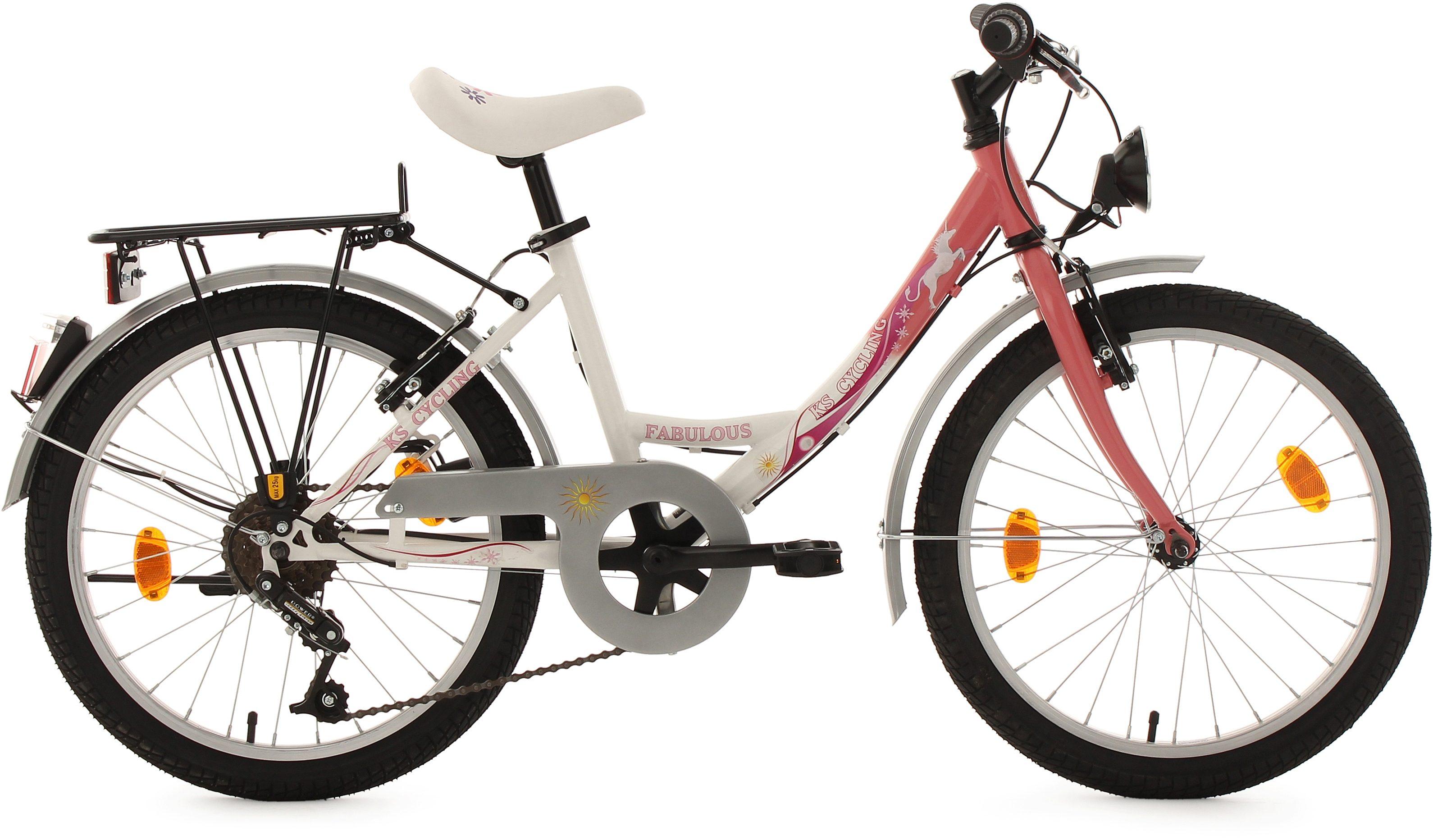 KS Cycling Jugendfahrrad, 20 Zoll, weiß-rosa, 6 Gang-Kettenschaltung, »Fabulous«
