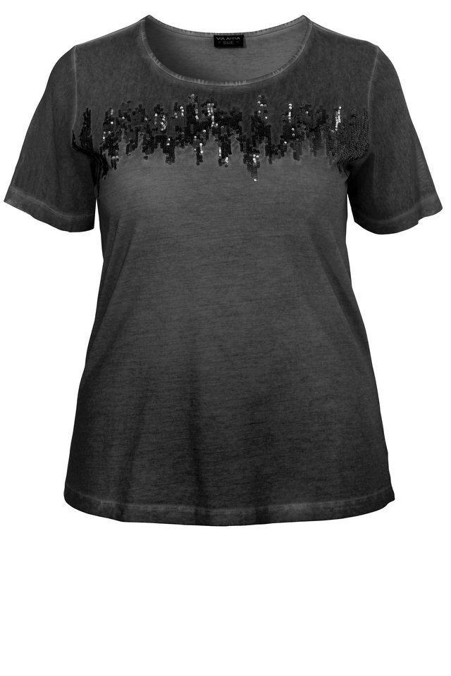 VIA APPIA DUE T-Shirt »mit toniger Pailletten-Stickerei« in schwarz