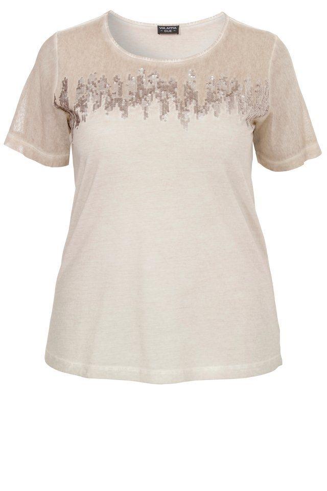 VIA APPIA DUE T-Shirt »mit toniger Pailletten-Stickerei« in SAND