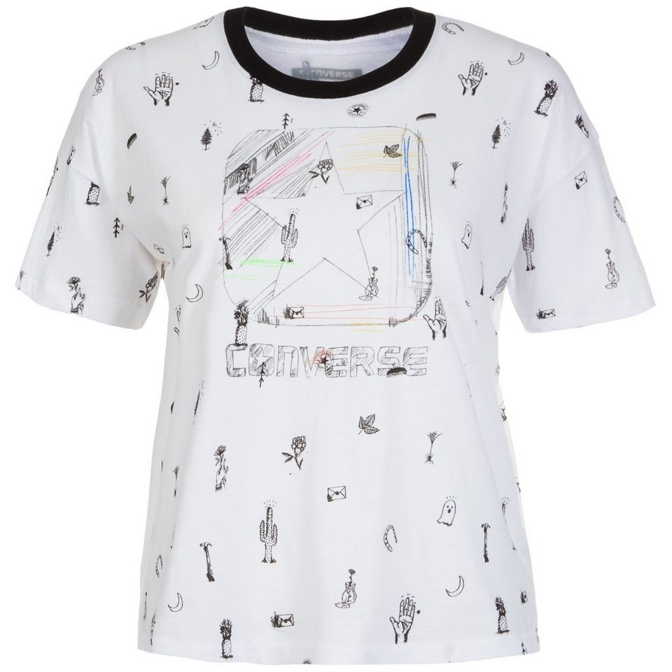 CONVERSE Triple Ringer Box Star T-Shirt Damen in weiß