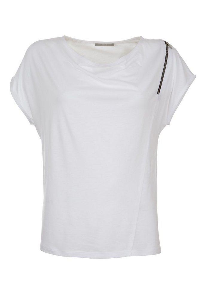 TUZZI Shirt mit Wasserfall- und Zipper-Detail in white