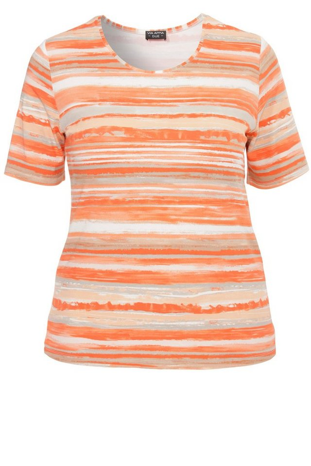 VIA APPIA DUE Ringel-T-Shirt »Soft Stripes« in PAPAYA MULTICOLOR
