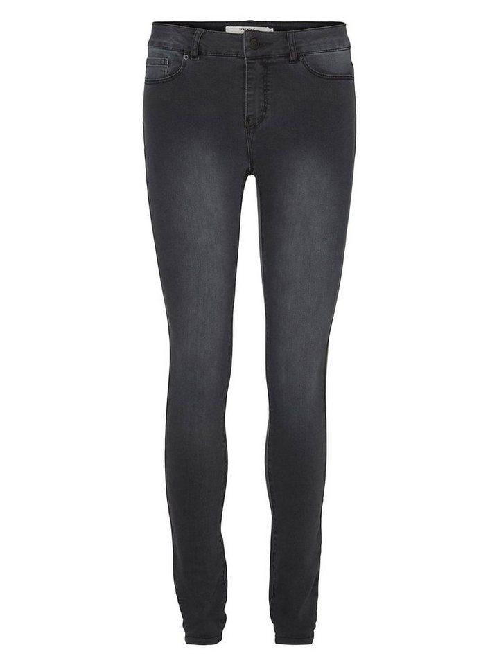 Vero Moda Seven NW Glatte Skinny Fit Jeans in Dark Grey Denim