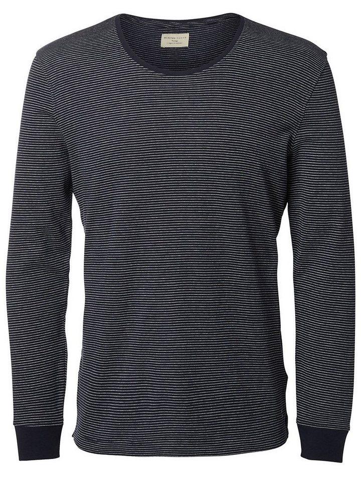 Selected Gestreiftes T-Shirt mit langen Ärmeln in Dark Sapphire