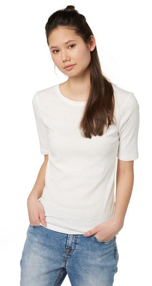 TOM TAILOR DENIM T-Shirt »schlichtes Ripp-Shirt mit Halbarm« in off white