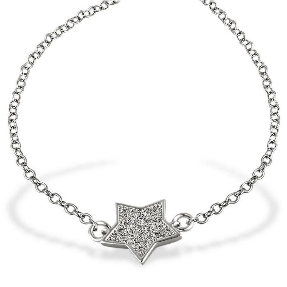 Averdin Armband Stern 925 Sterlingsilber 26 weiße Zirkonia 19,5 cm in silberfarben