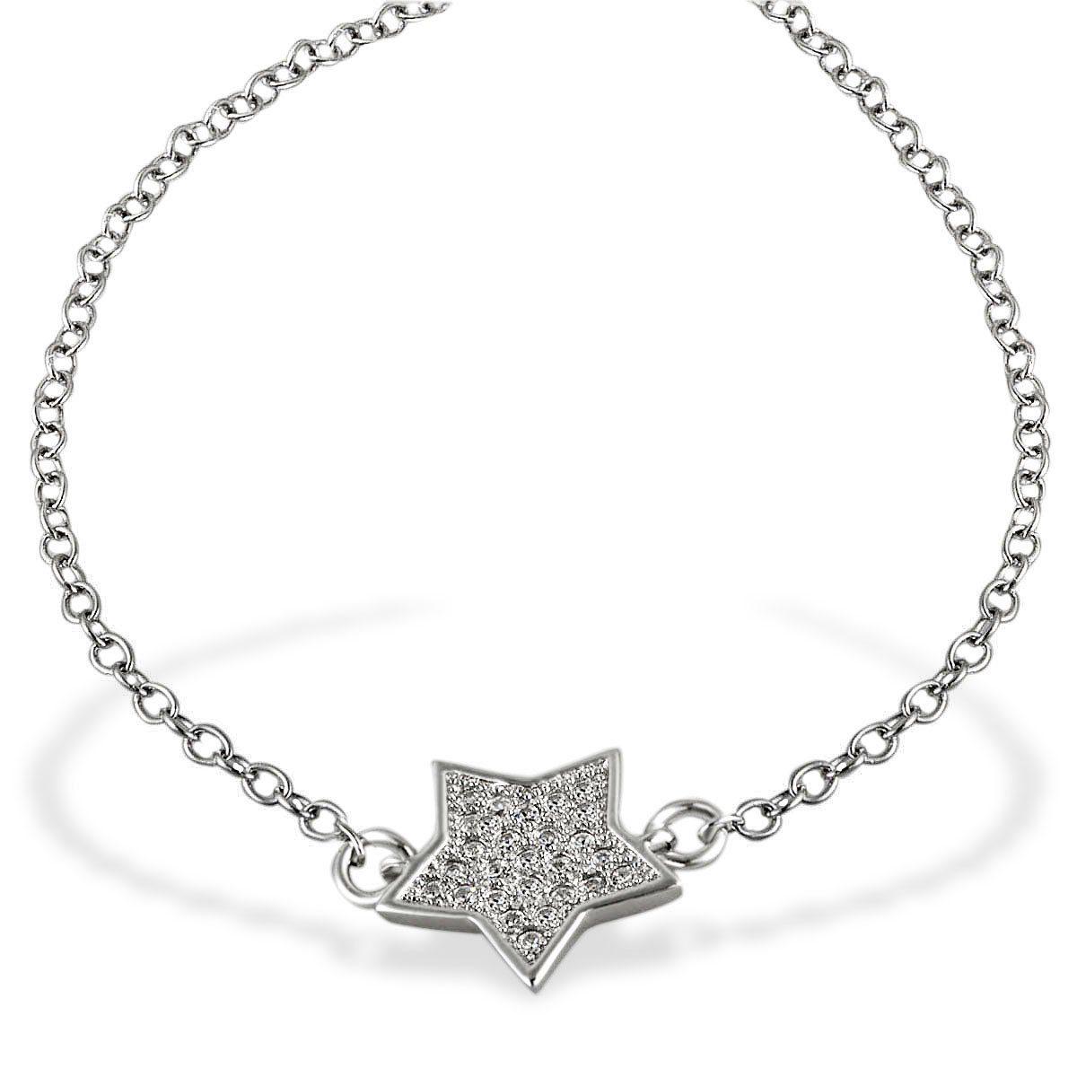 Averdin Armband Stern 925 Sterlingsilber 26 weiße Zirkonia 19,5 cm
