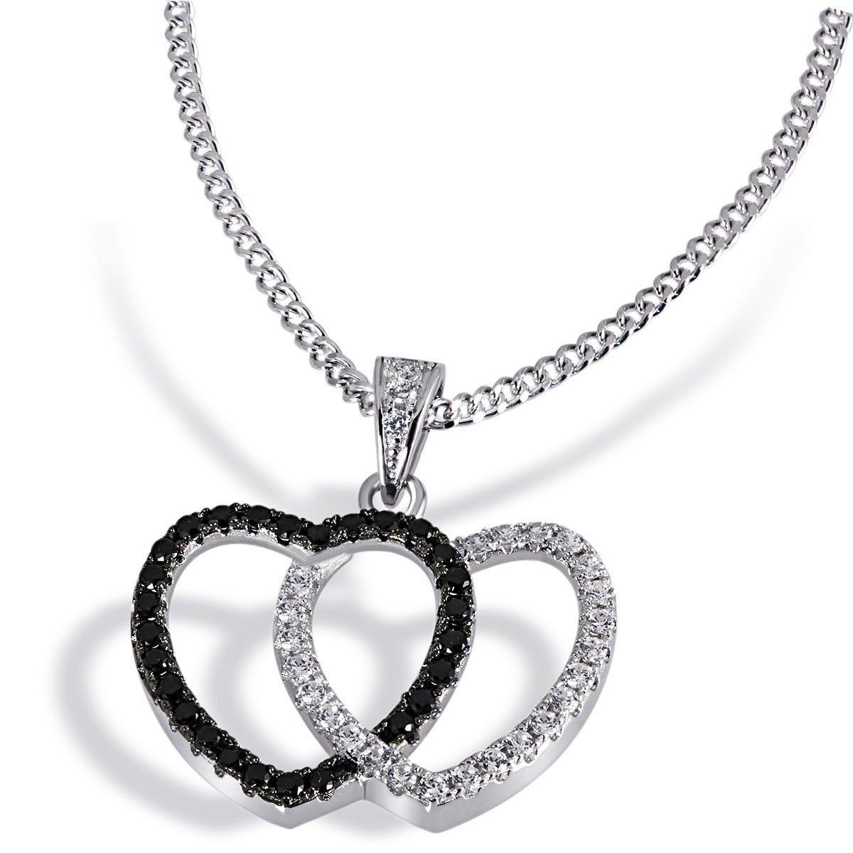 goldmaid Collier Black&White Hearts 925 Silber 27 weiße u. 27 schwarze Zi