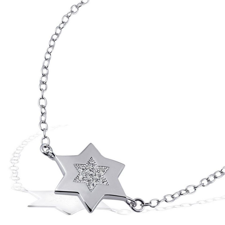 Averdin Armband Stern 925 Sterlingsilber 12 weiße Zirkonia 21 cm in silberfarben