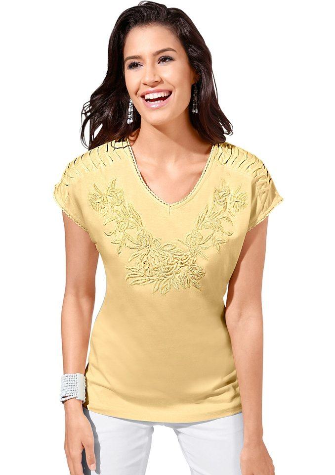 Lady Shirt mit Biesenverzierung in vanillegelb