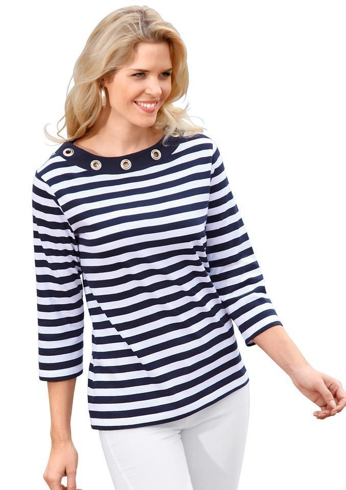 Classic Basics Shirt mit großen silberfarbenen Ösen in marine-weiß