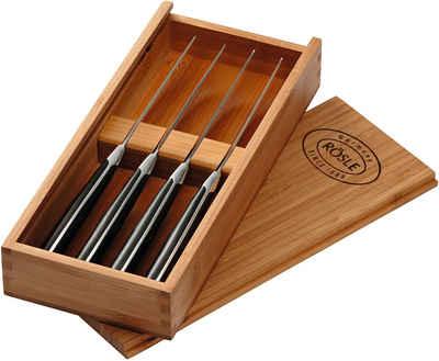 RÖSLE Steakmesser (4 Stück), Set mit 4 Steakmessern mit scharf geschliffener Klinge aus Klingenspezialstahl, POM, inkl. praktischer Holzbox