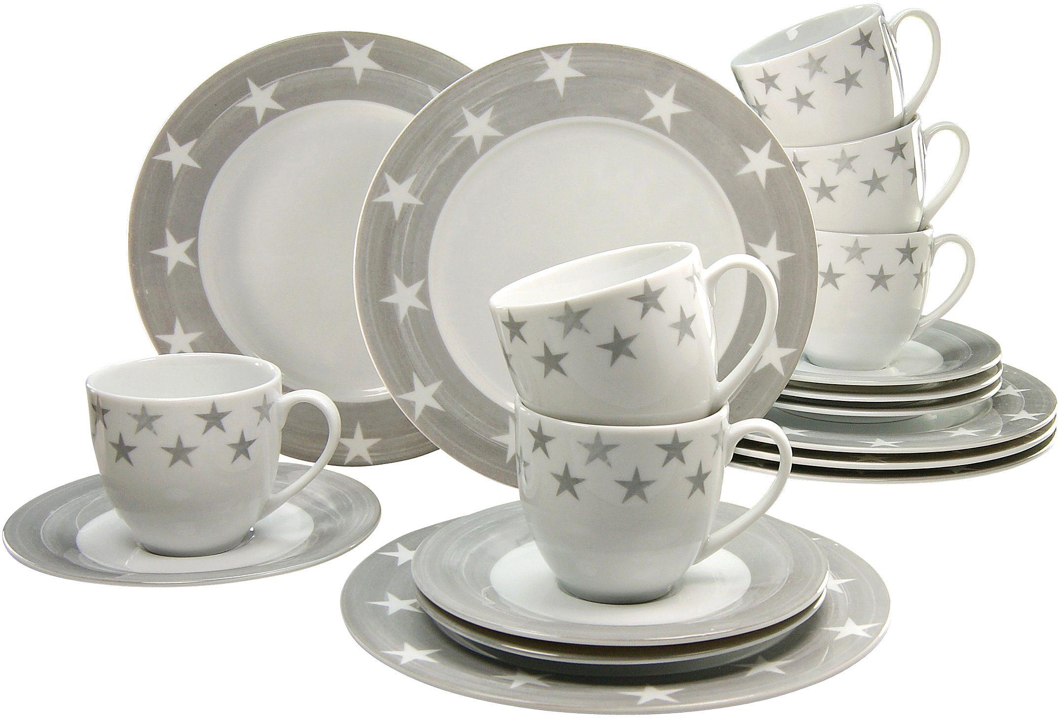 CreaTable Kaffeeservice, Porzellan, 18 Teile, »STERNE«