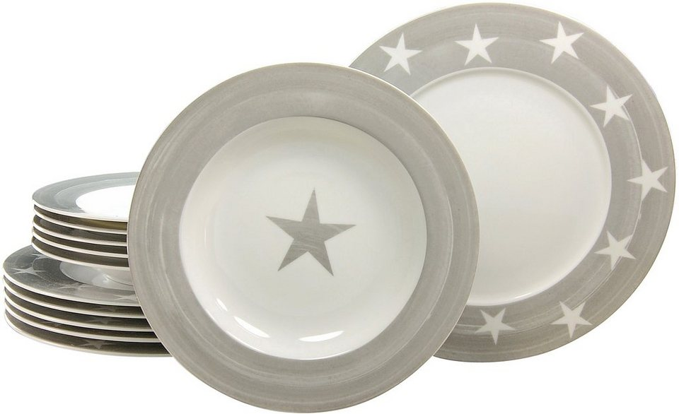 CreaTable Tafelservice, Porzellan, 12 Teile, »STERNE« in weiß/grau