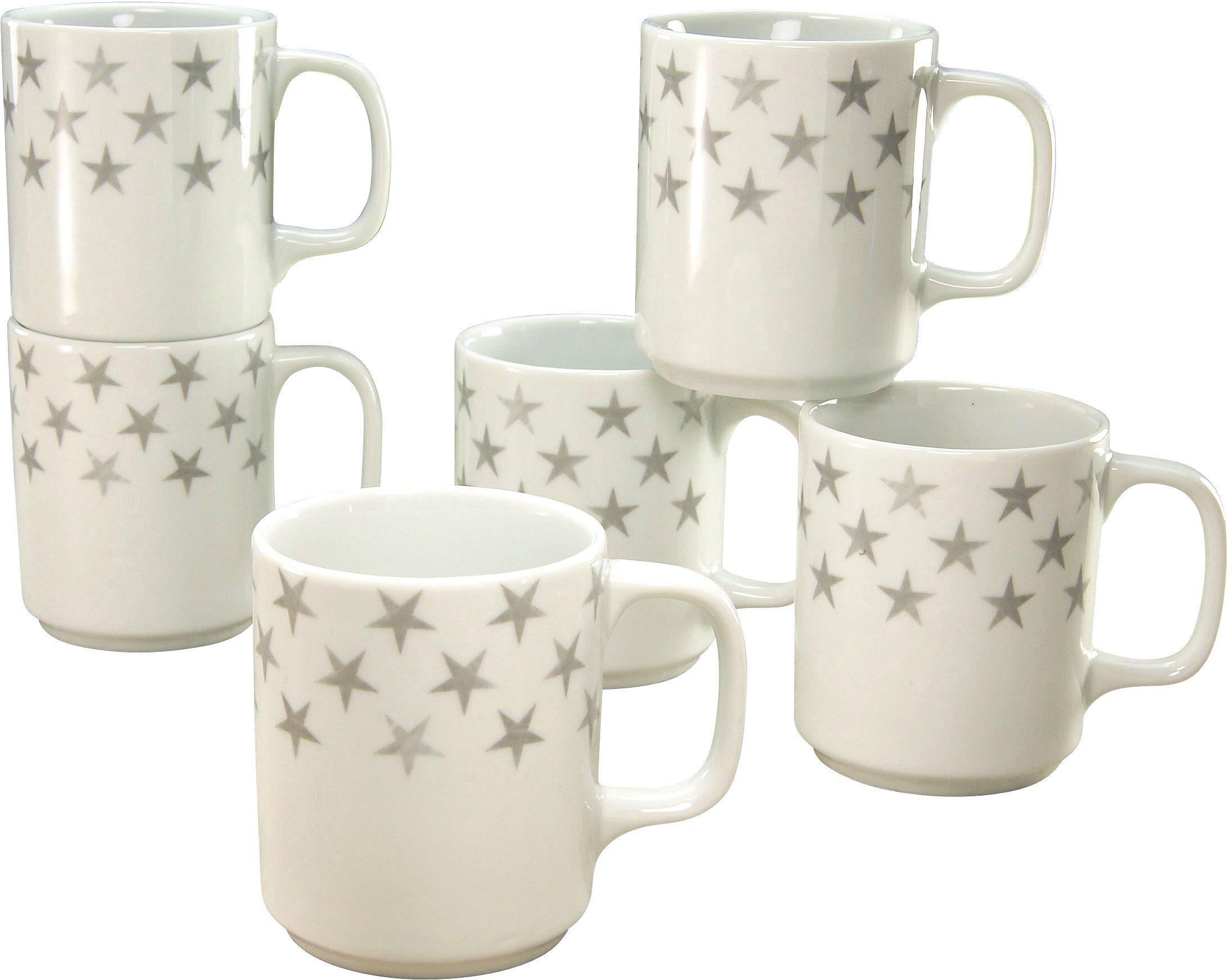 CreaTable Kaffeebecher, Porzellan, 6 Teile, »STERNE«