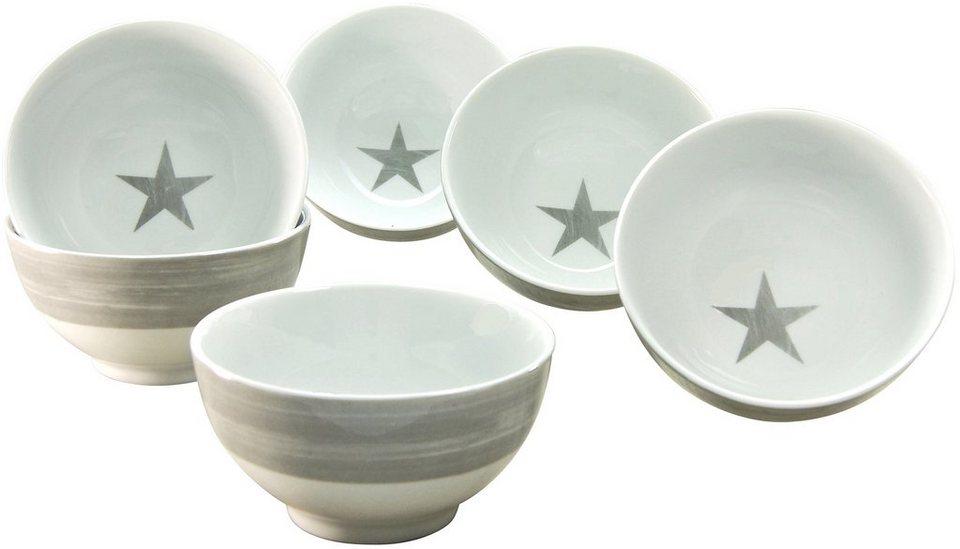 CreaTable Müslischalen, Porzellan, 6 Teile, »STERNE« in weiß/grau