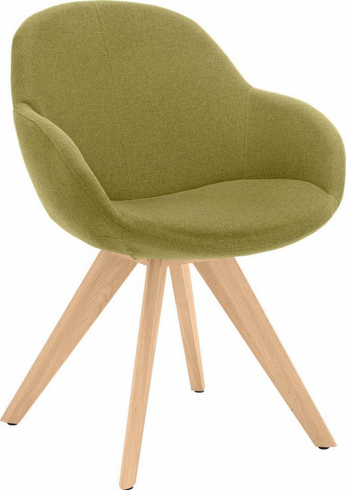 NIEHOFF SITZMÖBEL Schalen-Sessel »Coppa«, wahlweise mit Drehfunktion, Gestell Eiche bianco in grün