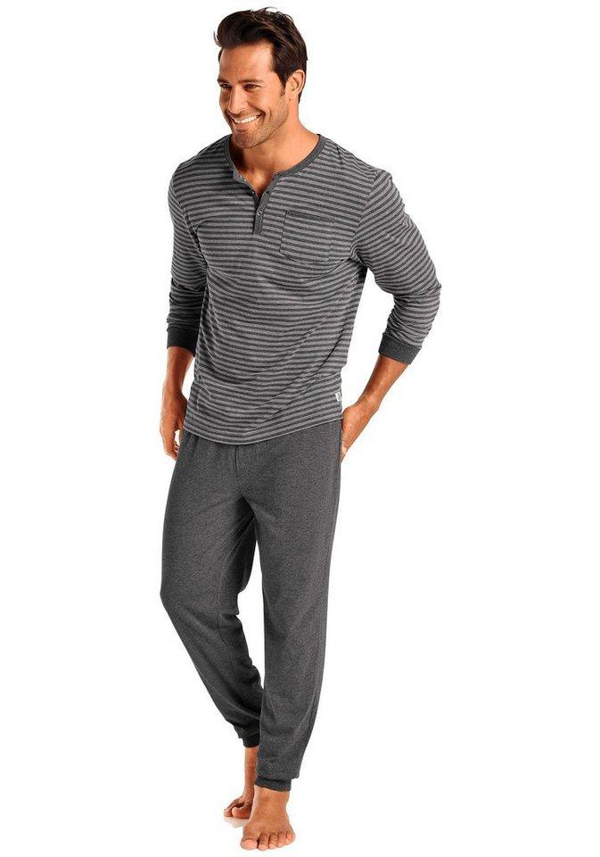 Le Jogger Pyjama lang in grau-anthrazit gestreift