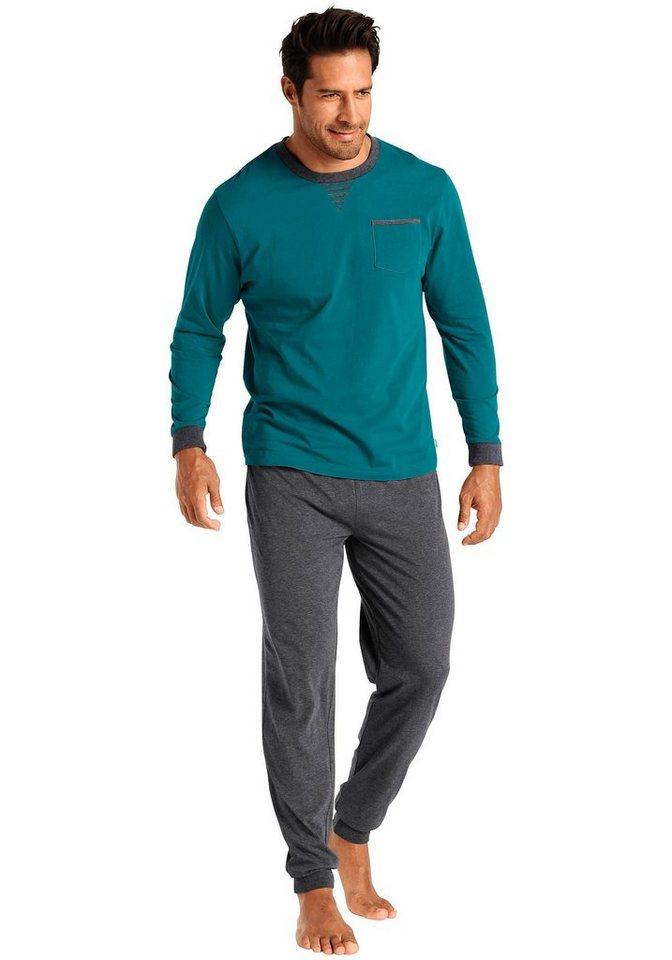 Le Jogger Pyjama lang in petrol-anthrazit uni