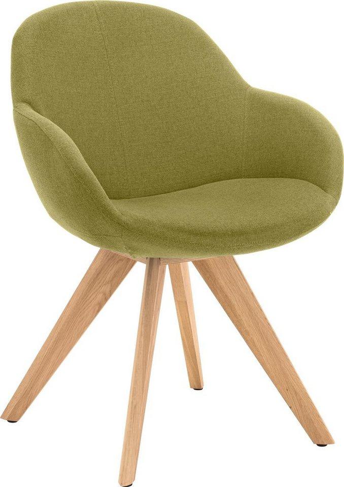 NIEHOFF SITZMÖBEL Schalen-Sessel »Coppa«, wahlweise mit Drehfunktion, Gestell Wildeiche geölt in grün