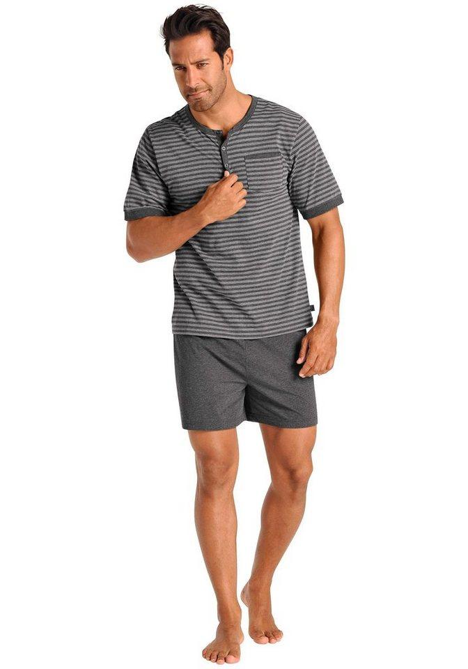 Le Jogger Pyjama kurz in grau-anthrazit gestreift