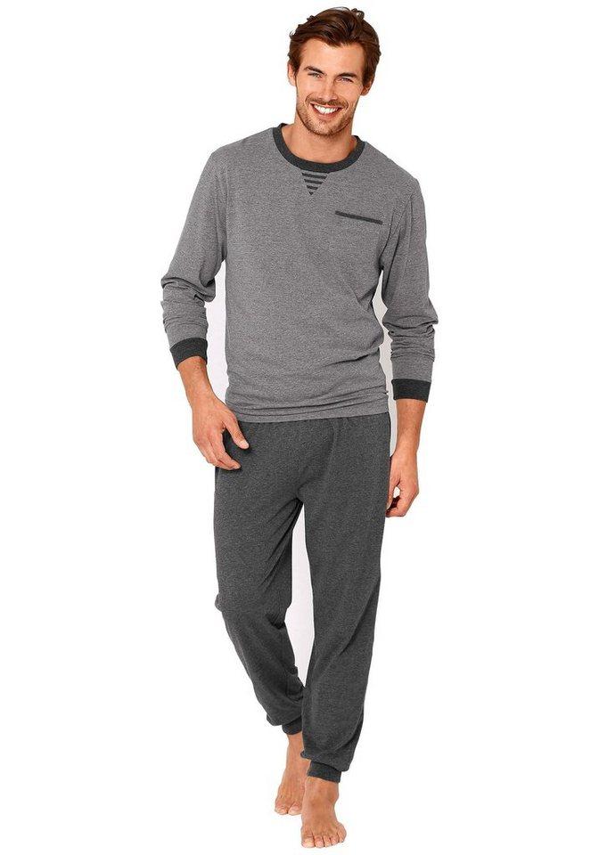 Le Jogger Pyjama lang in grau-anthrazit uni