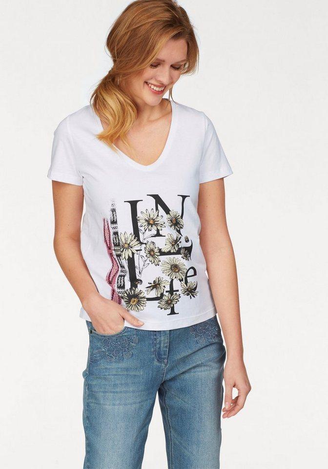 Cheer T-Shirt in weiß-schwarz-hellgelb-rot-bedruckt