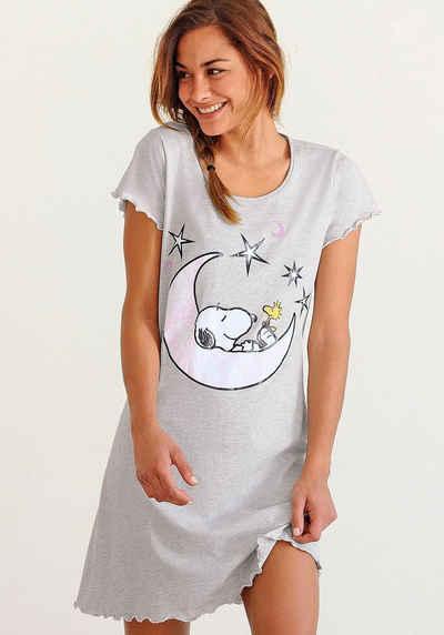 Peanuts Nachthemd mit Snoopy-Print und Kräuselsäumen