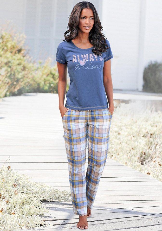 Pyjama-Set (3-tlg.), Arizona in ecru/blau/kariert