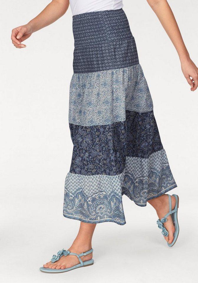 Tamaris Maxirock in hellblau-dunkelblau-wollweiß-grau-bedruckt
