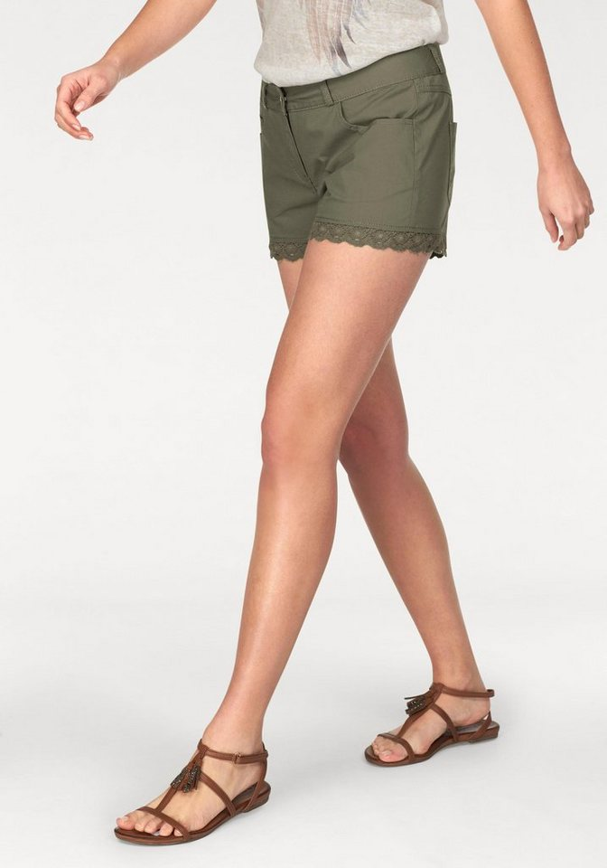 Aniston Shorts in Popeline-Qualität in khaki