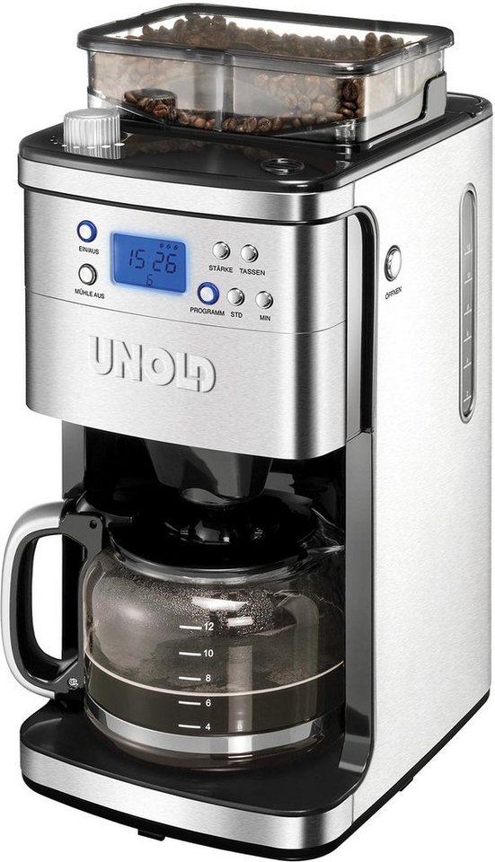 unold kaffeemaschine mit mahlwerk 28736 m hle 1 5l kaffeekanne permanentfilter 1x4 f r 200g. Black Bedroom Furniture Sets. Home Design Ideas