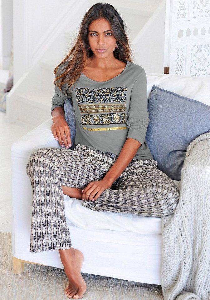 s.Oliver RED LABEL Bodywear Pyjama im Ethno-Design mit Folienprint in grau gemustert