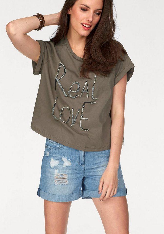 Aniston T-Shirt Steinchen-und Perlenverzierung in khaki-schwarz-bedruckt