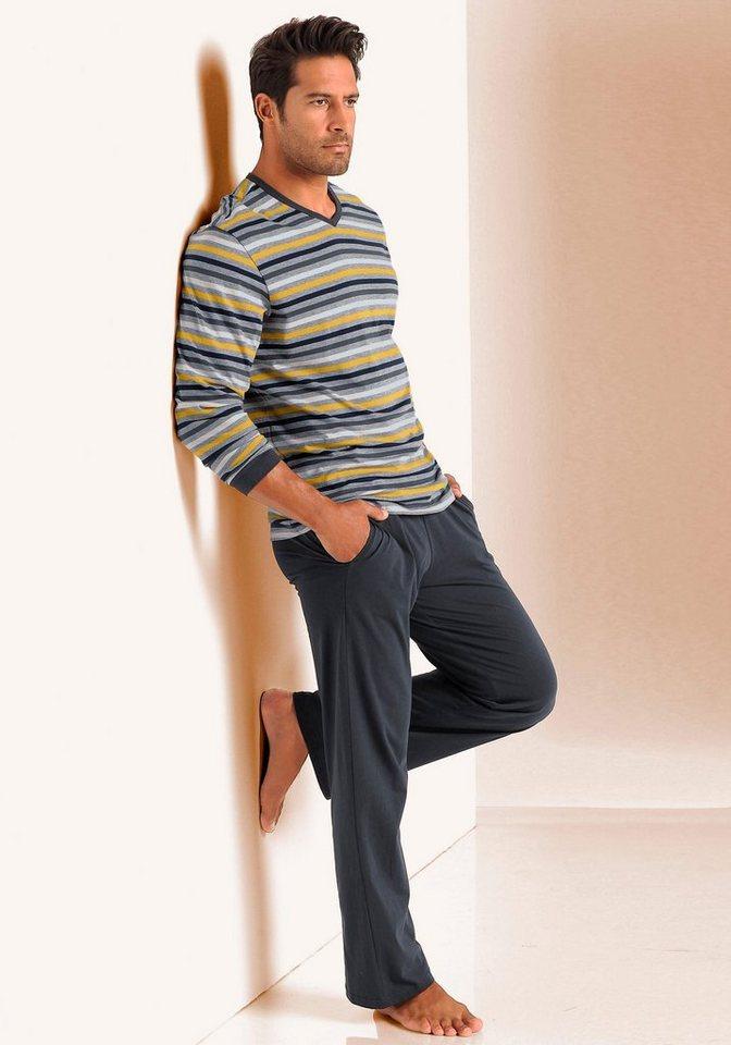 Seidensticker Pyjama in 1x gestreift-grau meliert