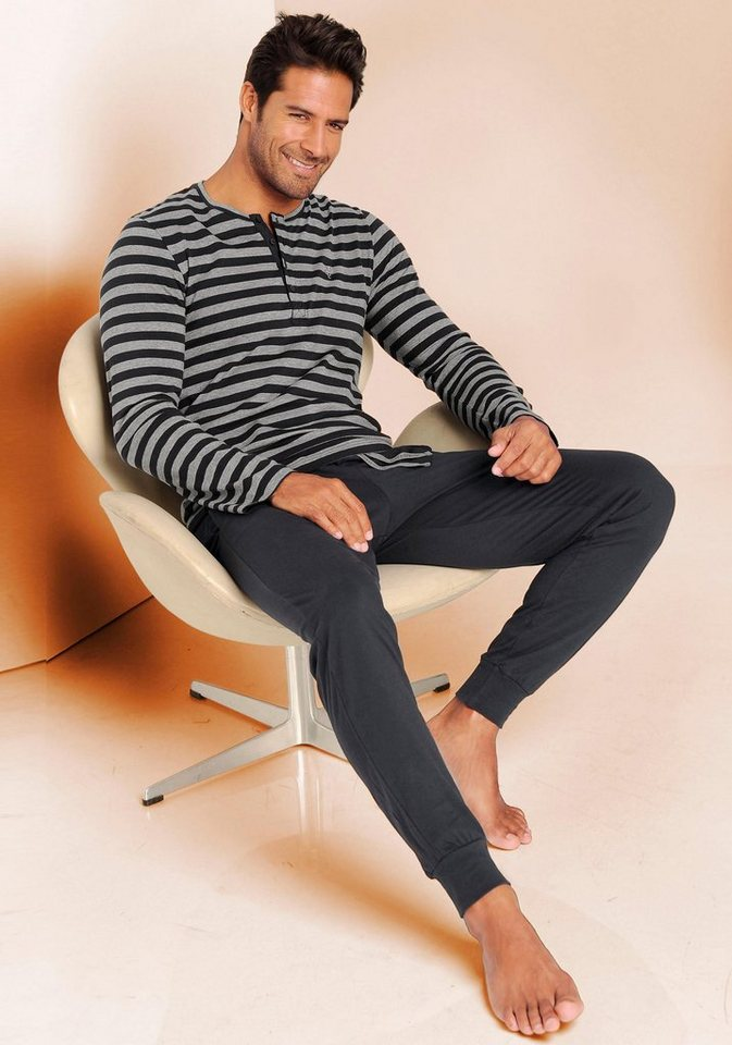 Marc O'Polo Pyjama lang in 1x gestreift-marine